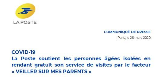 Opération «Veiller sur mes parents» par La Poste